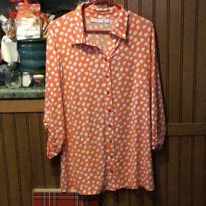 Orange/White Dot Tunic Shirt
